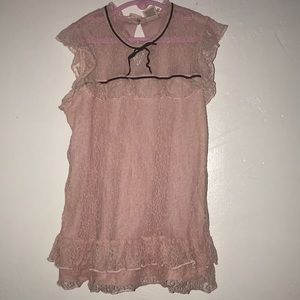 Blush pink lace sleeveless blouse for girls